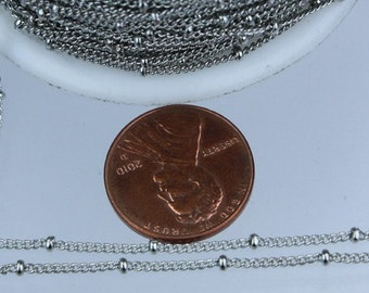 10 ft spool of Antique Silver Finished Rhodium Plated SATELLITE tiny curb BALL chain - 1.3mm soldered link