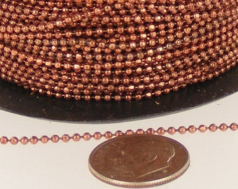 32 ft. of Antique copper finished brass Facet ball chain - 1.5mm ball size