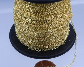 300 ft Gold Plated Chain - 2.4x1.7mm SOLDER Cable Chain - little Oval Flat Soldered Cable Chain - Bulk Wholesale Chain