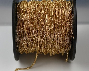 10 ft. of Gold plated curb ball chain - 2.5mm ball - 2.2x1.7mm soldered link