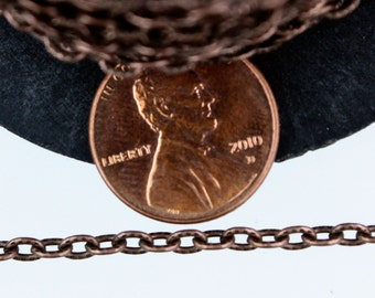 SALE Sale 32 ft of Antique Copper finished Textured Cable Chain - 4X3mm unsoldered link