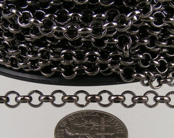 Gunmetal Rolo Chain bulk, 32 ft of Rolo Cable Chain 4.7mm - Unsoldered Links - Necklace Bracelet Wholesale Bulk Jewerly Chain