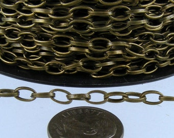5 ft. of Antique Brass Finished Drawn Cable Chain - 6.3x3.5mm Unsoldered Link