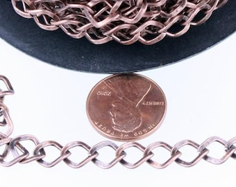 Antique Copper Curb Chain Bulk, 10 ft of Big Hammered Curb Chain - 8.7x7.3mm Unsolodered - Necklace Bracelet Wholesale DIY Chain