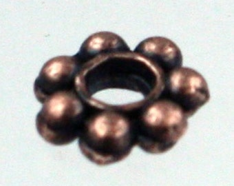 300 pcs - Antique Copper Finished Daisy Flower Spacer Beads - 4mm