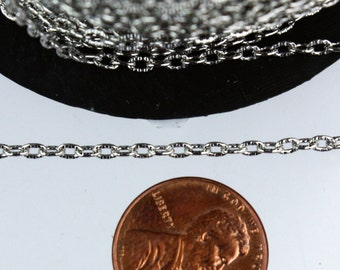 Rhodium Texture Chain Bulk, 32 ft. of Antique Silver Flat Texture Oval Chunky Cable Chain - 3x2mm Unsoldered - Necklace Bracelet Chain