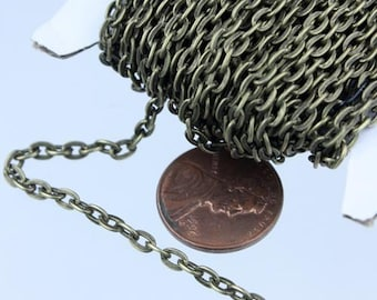 Antique Brass Chain, 32 ft of Antique Bronze  Flat Cable Chain - 4x3mm 0.8mm Unsoldered Link