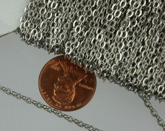 SALE Sale 32ft spool of Rhodium Plated Flat Round cable chain - 3x2.2mm - unsoldered link