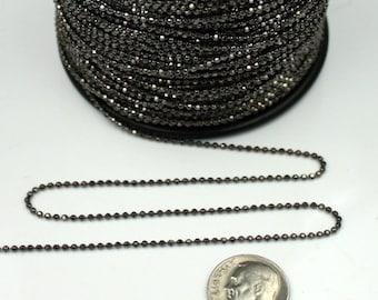 Gunmetal facet BALL Chain - 100 ft. spool of Brass bulk Ball chain Necklace Bracelet Wholesale - 1.5mm w/ FREE 100 connectors (Insert Type)