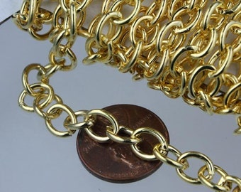 10 ft of Gold Plated Big Heavy Cable chain - 7.8x6.3mm 1.4mm unsoldered links