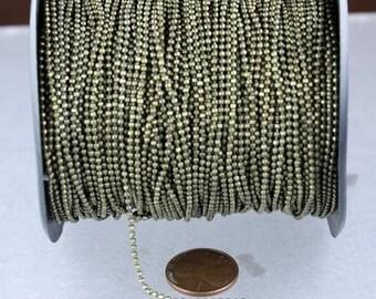 Rhodium Plated facet BALL Chain - 32 ft. spool of Bulk Ball chain Necklace Bracelet Wholesale - 1.5mm w/ FREE 10 connectors (Crimp)