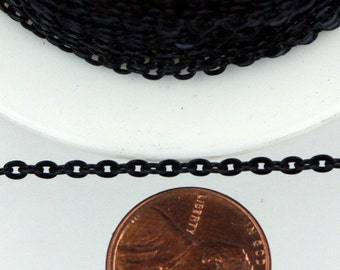 SALE Sale 50 ft spool of Black Finished Flat Round cable chain - 3x2.2mm - unsoldered link