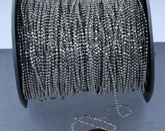Rhodium Plated facet BALL Chain - 10 ft. spool of Bulk Ball chain Necklace Bracelet Wholesale - 1.5mm w/ FREE 10 connectors (Insert)