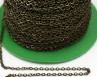 100 ft Antique Brass Flat Cable Chain - 3.4x2.9mm SOLDERED Link - Antique Bronze Bulk Flat Soldered Cable Chain - ship from California USA