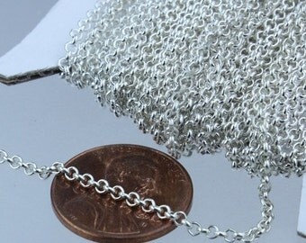 Sterling Silver Plated Rolo Chain bulk, 100 ft of Rolo Cable Chain 2.0mm - Unsoldered Links - Necklace Bracelet Wholesale Bulk Jewerly Chain