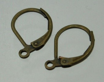 100 Antique Brass Bronze Leverback Earrings earwire 10X16mm