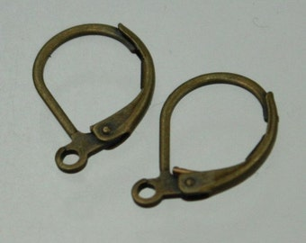 50 Antique Brass Leverback Earrings earwire 10X16mm