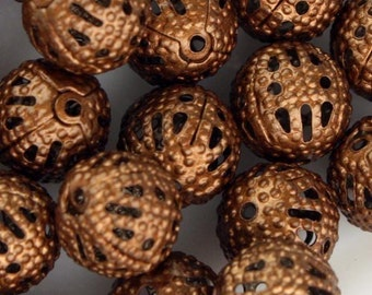 50 pcs of Antique Copper Filigree Round Beads Spacer - 8mm