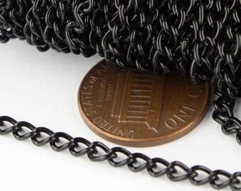 12 ft of Black Finished Curb Chain - 3.0mm 0.8mm Unsoldered Link