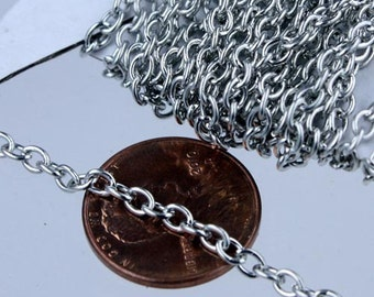 50 ft of Antique Silver Finished Cable Chain -3.8x2.7mm 0.7mm Unsoldered Link
