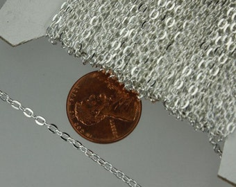 12 ft spool of Silver Plated Flat Round cable chain - 3x2.2mm - unsoldered link