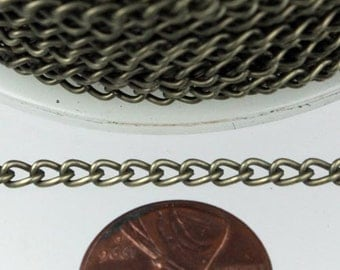 32 ft of Antique Brass Finished Curb Chain - 3.0mm 0.8mm Unsoldered Link