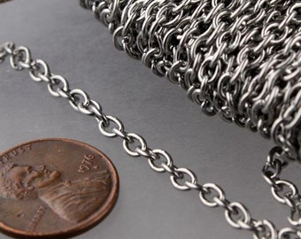 Stainless Steel chain bulk,  50 ft of Surgical Stainless Steel Cable chain - 4.1x3.2mm Unsoldered Link