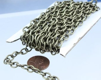 100 ft of Antiqued brass Big Heavy Cable chain - 7.8x6.3mm 1.2mm unsoldered links - PRIORITY Mail from California USA