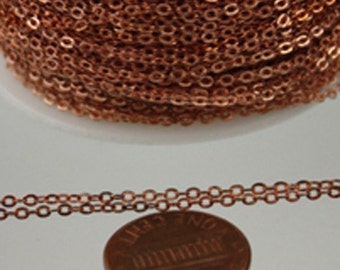 32 ft raw Copper Chain - 2.4x1.7mm SOLDER Chain - RAW Copper little Oval Flat Soldered Cable Chain - Bulk Wholesale Chain - from USA