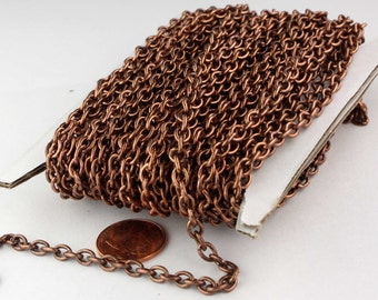32ft of Antiqued Copper Round Cable Sturdy Heavy Chain 4X5mm 18Gauge - unsoldered Links