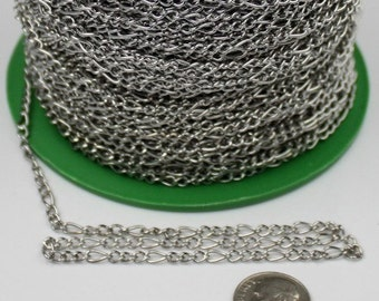 12ft Spool of Antique Silver finished figaro chain 7x3mm unsoldered Links