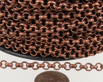 Antique Copper Rolo Chain bulk Chain, 5 ft of Rolo Cable Chain 3.8mm - Unsoldered Links - Necklace Bracelet Wholesale Bulk Jewerly Chain