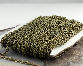 32 ft Antique Brass Cable Chain - 4x5mm 19 Gauge (0.9mm) Unsoldered Link - Antique Bronze Heavy Strong Cable Chain Bulk Wholesale Chain