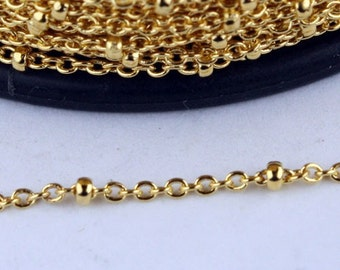 10 feet Gold Plated Chain tiny Satellite Chain Cable BALL Chain - 2.0x1.4mm SOLDERED Necklace Sattellite Chain Bulk Chain