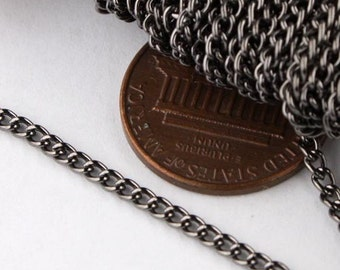 12ft of Gunmetal Finished Curb chain 2.2mm - Unsoldered Links