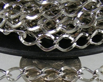 32 ft of Rhodium Finished Big Hammered Curb Chain - 7.8x6.0mm Unsolodered Link 18G