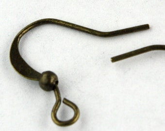100 pcs of Antique Brass Finished flat fish Hook with ball Earwire 19X14mm