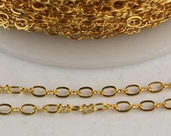 12 ft spool of Gold Plated on Brass SOLDERED Tiny  Figure 8 Connector Chain - 3.0x1.9mm links