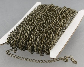 32 ft Antique Brass Bronze SOLDER Curb Chain EXTENDER Chain - 4x3mm Soldered Link