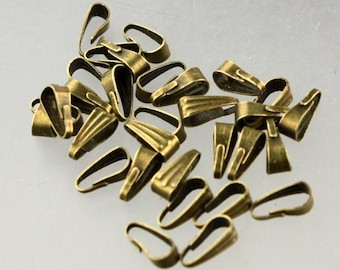 100 pcs of Antique Brass Finished Pendant Pinch Bail 9x3.5mm