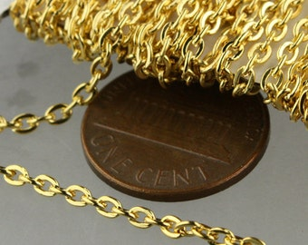 SALE Sale 50 ft spool of Gold Plated Flat Round cable chain - 3x2.2mm - unsoldered link