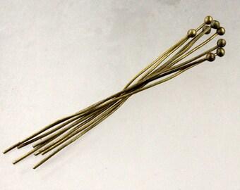 100 pcs Antique Brass Ball headpins Bronze - 2 inch (50mm), 22 Gauge 22G 1.8mm Ball - from California USA