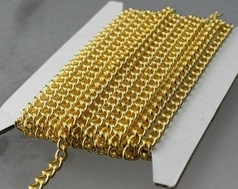 32 feet Gold Curb Chain / Gold Plated Curb BIG Chunky Sturdy Curb Chain - 3.6mm width 1.0mm Wire Unsoldered - Bulk Chain Necklace Chain