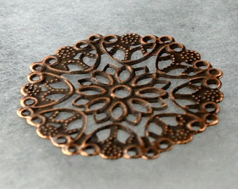 10 pcs of Antiqued Copper filigree drop 35mm