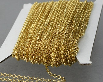 Gold Plated Rolo Chain bulk, 32 ft spool of ROLO cable chain - 2.2mm Unsoldered Links - Necklace Bracelet Wholesale Bulk Jewerly Chain