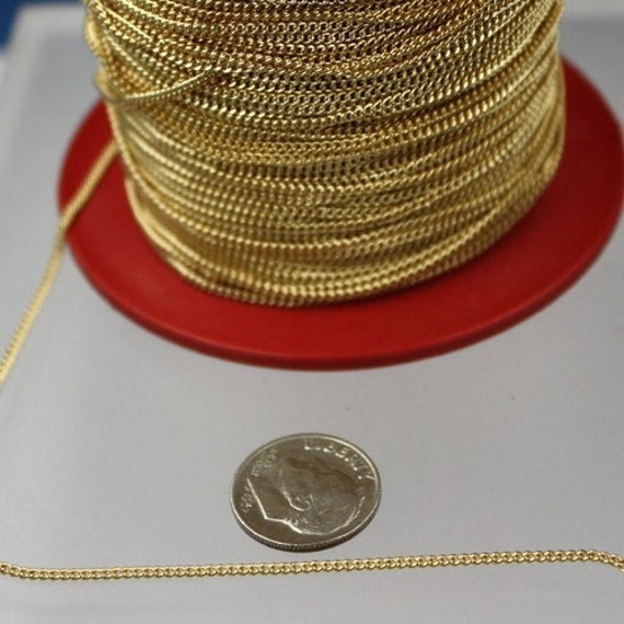 32 ft Gold Plated Solder Curb Chain - 1.6mm SOLDERED Link