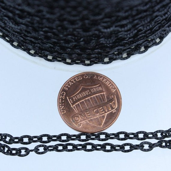 SALE Sale 50 ft of Black finished Textured Cable Chain - 4X3mm unsoldered link