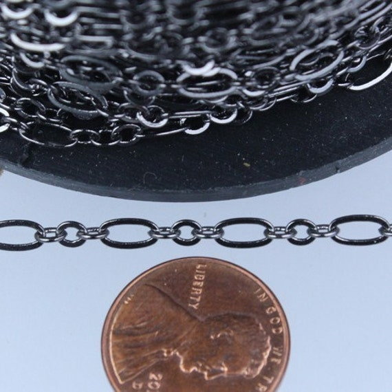 Gunmetal Chain Bulk Chain, 32 ft of ( 3 and 1 ) Long and Short Chain Flat Cable Chain Necklace Chain 6.3 N 4mm - SOLDERED Links