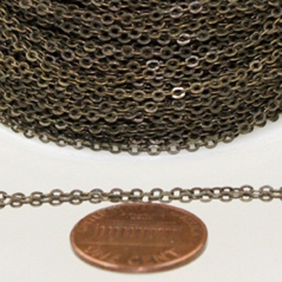32 ft Antique Bronze Chain - 2.4x1.7mm SOLDER Chain - Antique Brass little Oval Flat Soldered Cable Chain - Bulk Wholesale Chain - from USA
