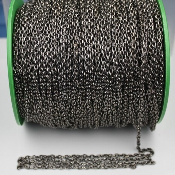 Gunmetal Drawn Chain Bulk, 12 ft spool of DRAWN cable chain 4X3mm - unsoldered link,Bulk Necklace Chain